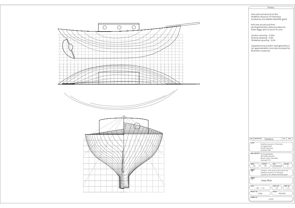 Lines plan image of Tamima for linking to the PDF drawing