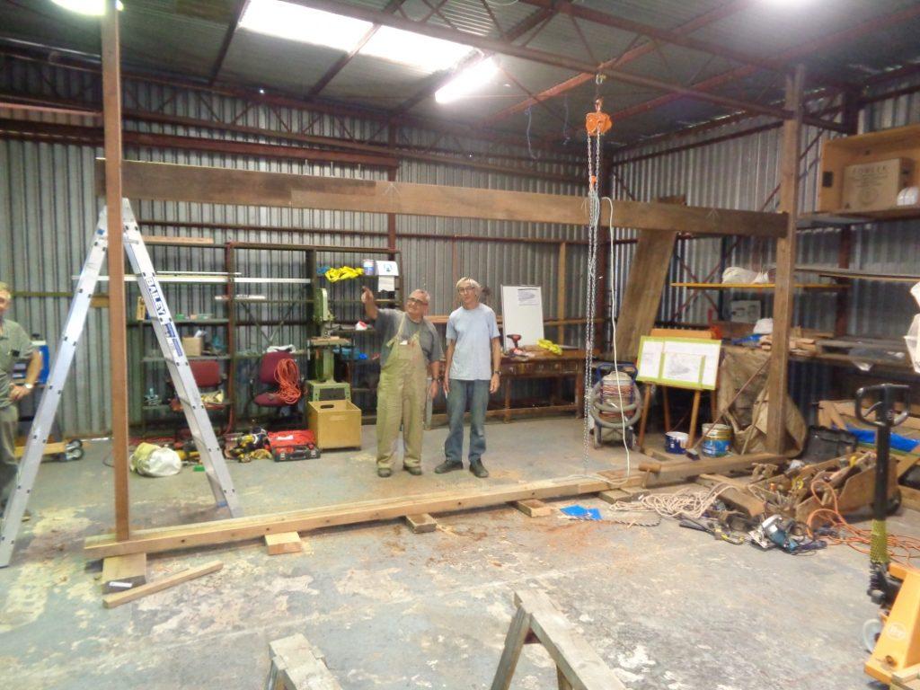 Boat building jig under construction